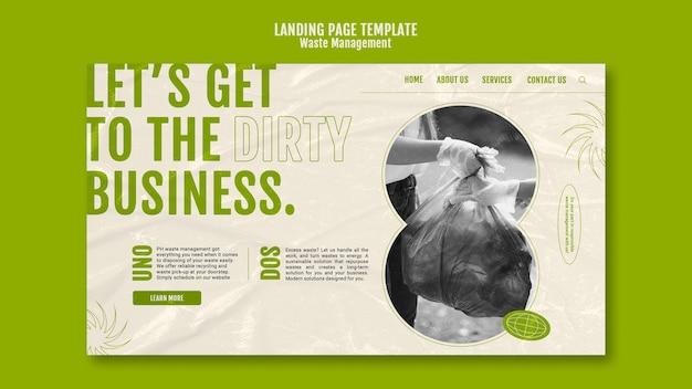 Plantilla de diseño de página de destino de gestión de residuos