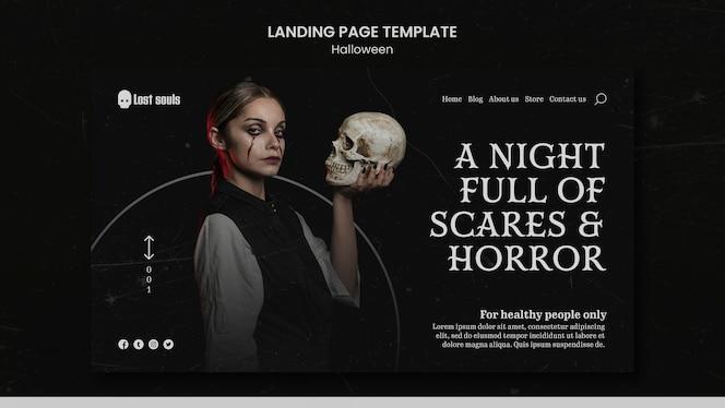 plantilla de diseño de página de destino de halloween