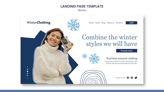 Plantilla de diseño de página de destino de invierno