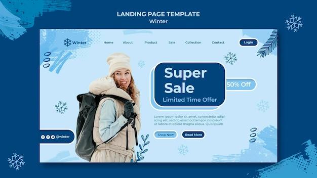 Plantilla de diseño de página de destino de rebajas de invierno