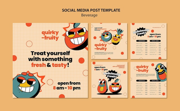 Plantilla de diseño de personajes de bebidas de publicaciones en redes sociales
