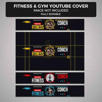 Plantilla de diseño de portada o encabezado de youtube de fitness y gimnasio, diferentes tamaños