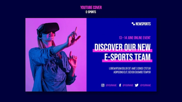 Plantilla de diseño de portada de youtube de e-sports