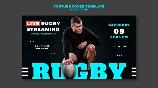 Plantilla de diseño de portada de youtube de juego de rugby