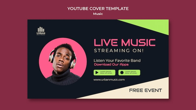 Plantilla de diseño de portada de youtube de programa de música