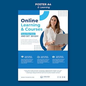 Plantilla de diseño de póster de e-learning