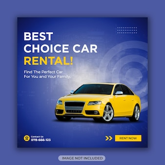 Plantilla de diseño de publicación de instagram o banner cuadrado de redes sociales de alquiler de coches