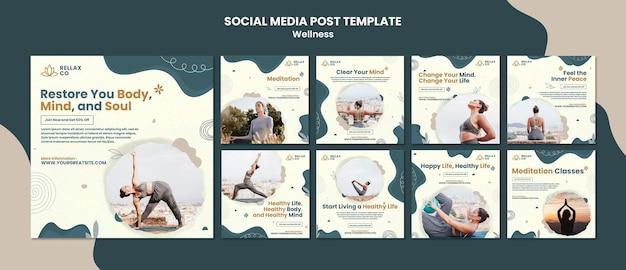 Plantilla de diseño de publicación de redes sociales de bienestar