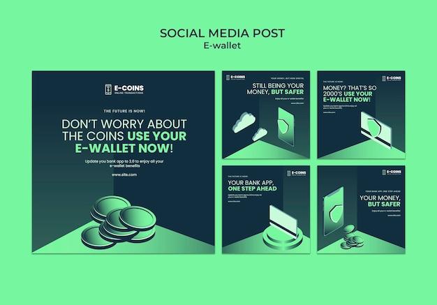 Plantilla de diseño de publicación de redes sociales de billetera electrónica