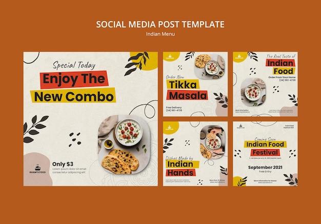 Plantilla de diseño de publicación de redes sociales de comida india