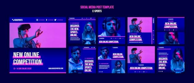 Plantilla de diseño de publicación de redes sociales de deportes electrónicos