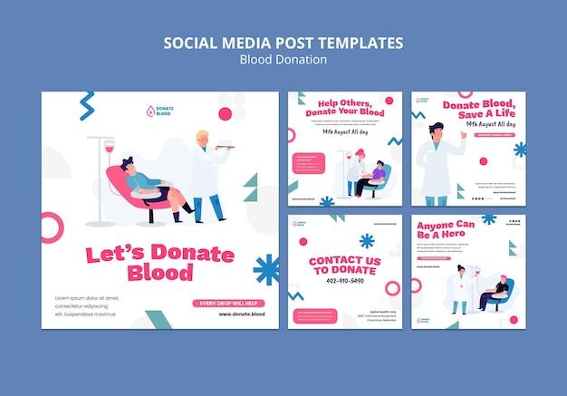 Plantilla de diseño de publicación de redes sociales de donación de sangre
