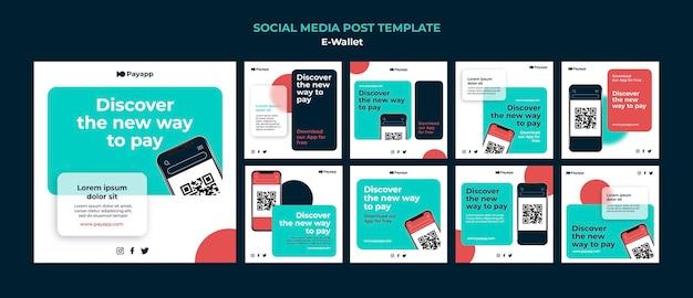 Plantilla de diseño de publicación de redes sociales de ewallet