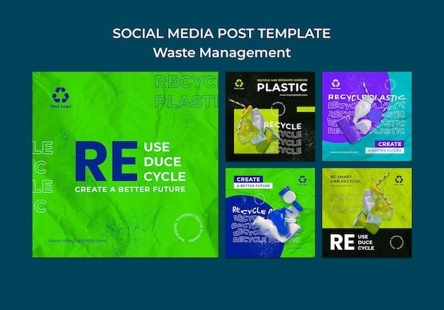 Plantilla de diseño de publicación de redes sociales de gestión de residuos