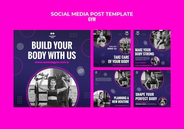 Plantilla de diseño de publicación de redes sociales de gimnasio