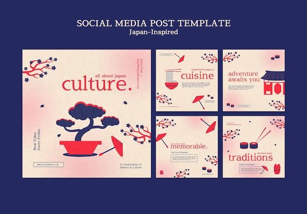 Plantilla de diseño de publicación de redes sociales inspirada en japón