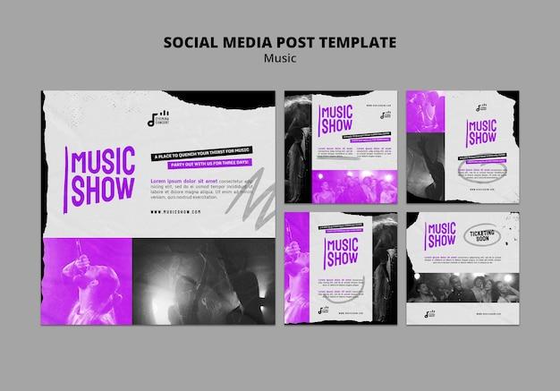 Plantilla de diseño de publicación de redes sociales de insta de programa de música
