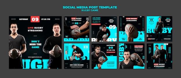 Plantilla de diseño de publicación de redes sociales de juego de rugby