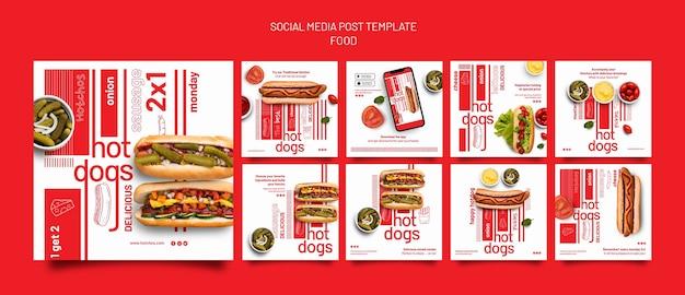 Plantilla de diseño de publicación de redes sociales de plantilla de comida