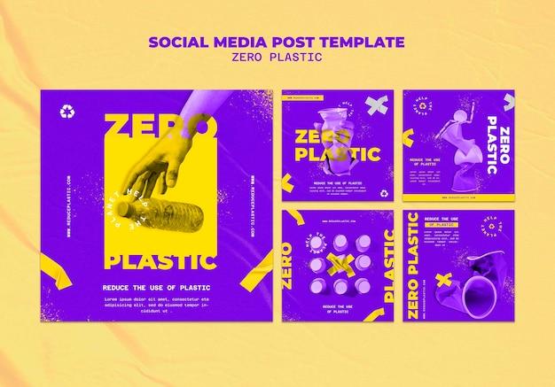 Plantilla de diseño de publicación de redes sociales de plástico cero