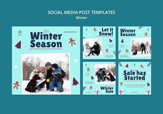 Plantilla de diseño de publicación de redes sociales de rebajas de invierno
