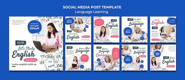 Plantilla de diseño de publicaciones de redes sociales de aprendizaje de idiomas