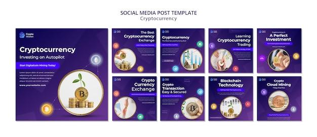 Plantilla de diseño de publicaciones de redes sociales de criptomonedas