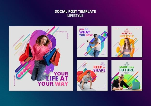 Plantilla de diseño de publicaciones de redes sociales de estilo de vida