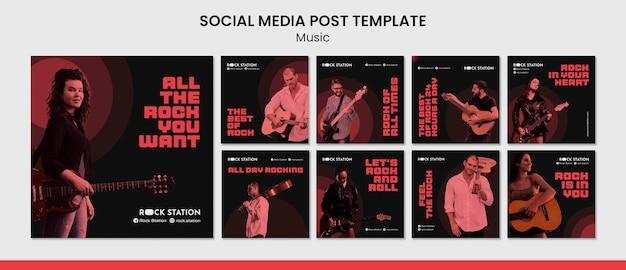 Plantilla de diseño de publicaciones de redes sociales de música