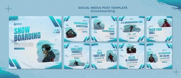 Plantilla de diseño de publicaciones de snowboard ig