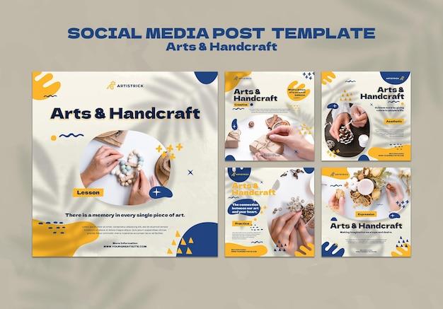 Plantilla de diseño de redes sociales de artes y artesanías