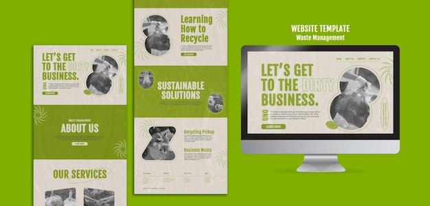 Plantilla de diseño de sitio web de gestión de residuos
