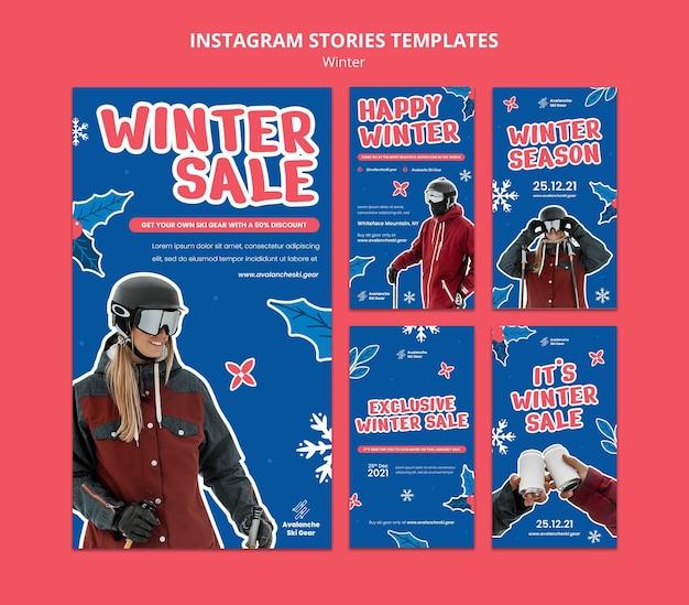 Plantilla de diseño de stry de instagram de rebajas de invierno