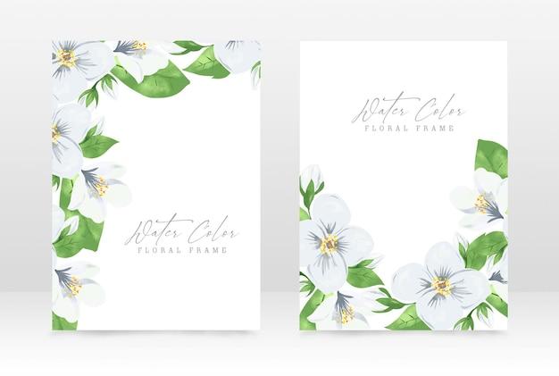 Plantilla de diseño de tarjeta de invitación de celebración de boda acuarela floral