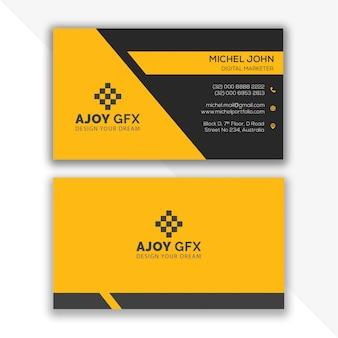 Plantilla de diseño de tarjeta de visita amarilla