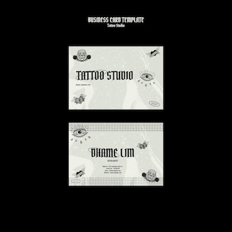 Plantilla de diseño de tarjeta de visita de estudio de tatuaje