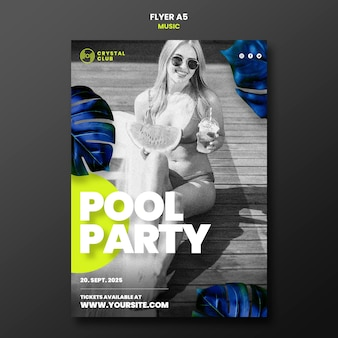Plantilla de diseño de volante de música de fiesta en la piscina