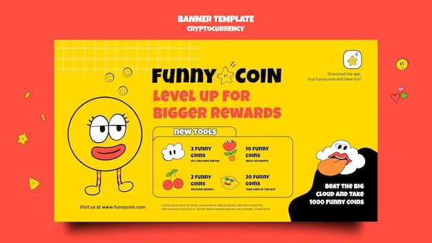Plantilla divertida de banner de criptomonedas de monedas