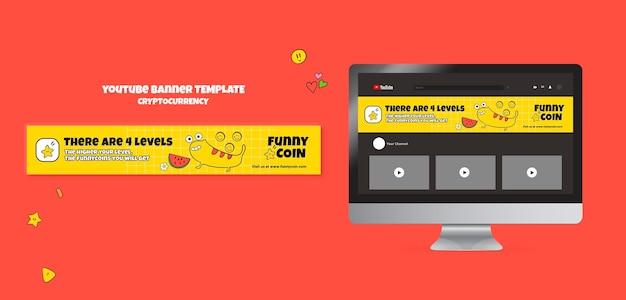 Plantilla divertida de banner de youtube de criptomonedas de monedas