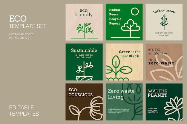 Plantilla ecológica psd para conjunto de publicaciones en redes sociales
