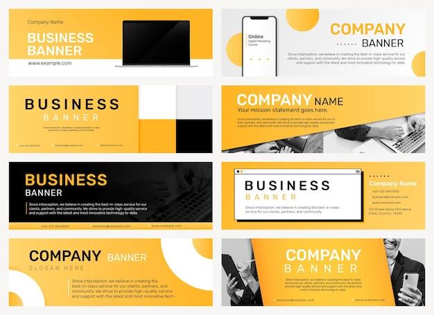 Plantilla editable de banner de empresa psd para conjunto de sitios web de negocios