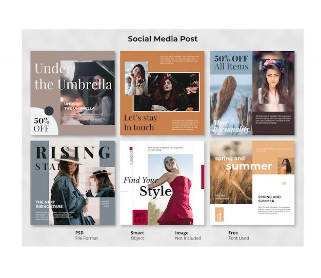 Plantilla editable de banner de publicación social de fashion square
