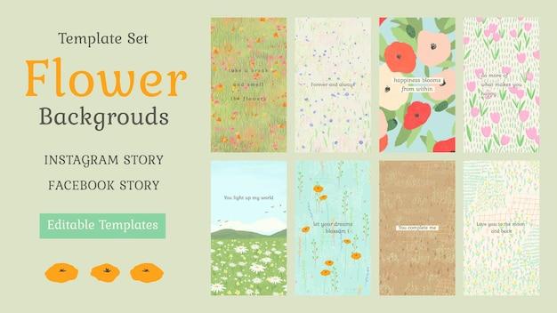 Plantilla editable de cita inspiradora psd sobre fondo floral para el conjunto de historias de redes sociales