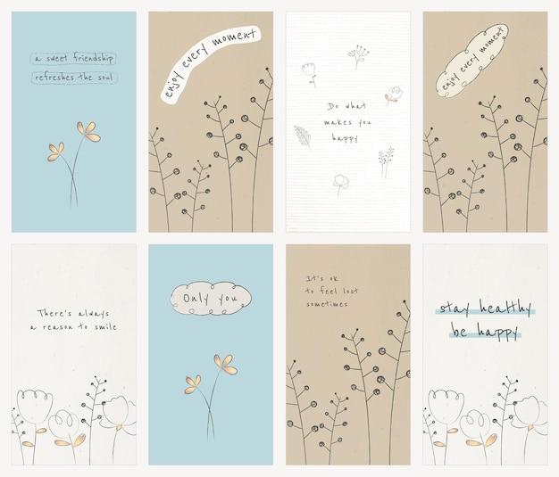 Plantilla editable de cita motivacional psd con conjunto de garabatos de flores silvestres