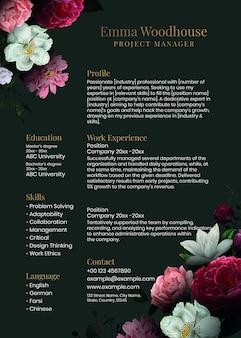Plantilla editable de curriculum vitae floral psd en verde