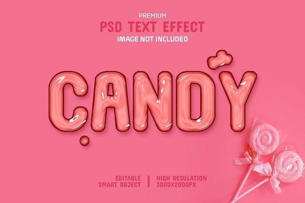 Plantilla editable de efecto de texto de caramelo brillante