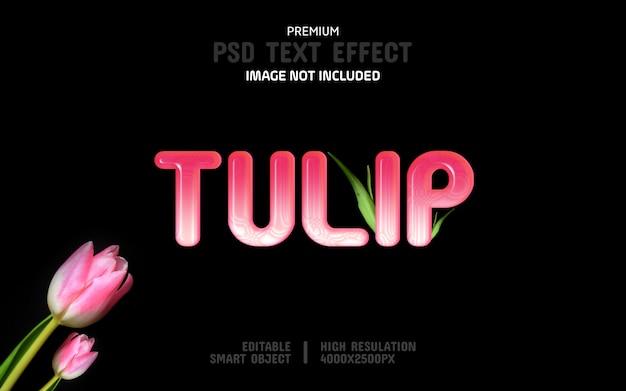 Plantilla editable de efecto de texto de tulipán
