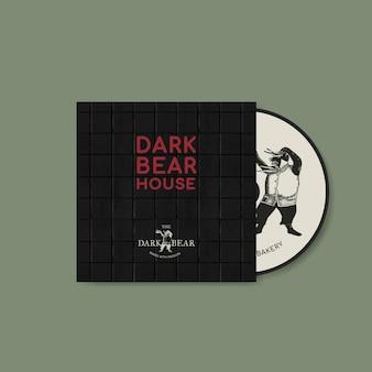 Plantilla editable de portada de cd psd en identidad corporativa de tono oscuro