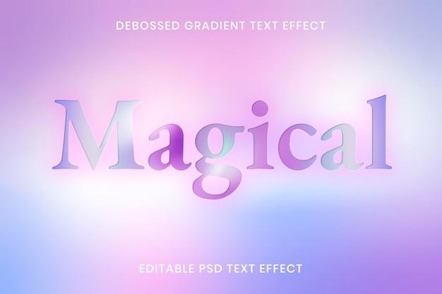 Plantilla editable psd de efecto de texto degradado en relieve