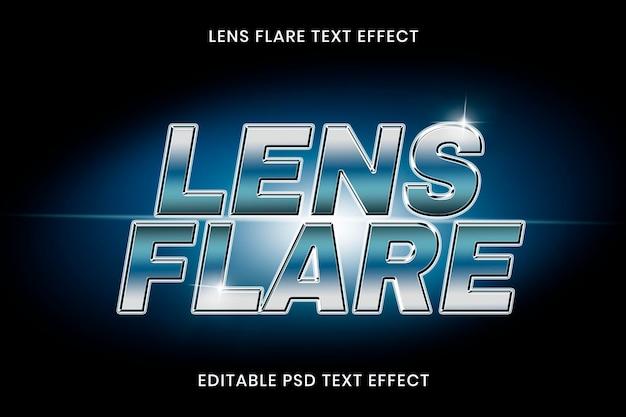 Plantilla editable psd de efecto de texto de destello de lente
